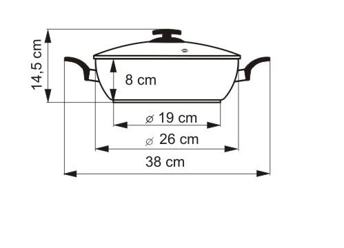 KOLIMAX Univerzální pánev BLACK GRANITEC s poklicí, průměr 26 cm